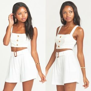 NWT Show Me Your MuMu Adeline White Crop Top
